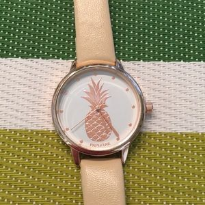 🍍NEW Pineapple Watch with tan vegan leather strap
